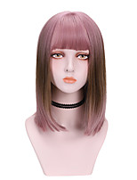 cheap -Synthetic Wig Straight With Bangs Wig Medium Length Brown Pink Synthetic Hair 14 inch Women's Cool Color Gradient Comfy Pink Brown