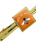 cheap -save the bees honey square tie bar clip clasp tack- silver or gold