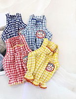 cheap -Dog Shirt / T-Shirt Vest Plaid / Check Cute Funny Casual / Daily Dog Clothes Puppy Clothes Dog Outfits Breathable Yellow Red Dark Blue Costume for Girl and Boy Dog Polyester S M L XL XXL