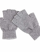cheap -autumn men's half finger gloves fingerless mittens plain knitted gloves cycling gloves for driving golf outdoor motorcycle cycling - grey - one size