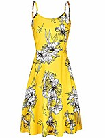 cheap -dikewang women's vintage sleeveless adjustable spaghetti straps backless strappy summer floral flared swing dress beach summer dresses for female yellow