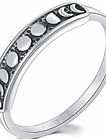 cheap -retro vintage stainless steel moon phase shape crescent stacking wedding band promise ring (silver, 7)