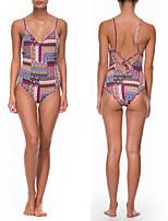 cheap -Women's Fashion Sexy Board Shorts Swimsuit Geometric Lace up Padded Normal Swimwear Bathing Suits Purple / One Piece
