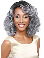 cheap -Synthetic Wig Curly Asymmetrical Wig Medium Length Silver grey Synthetic Hair Women's Soft Classic Comfy Silver