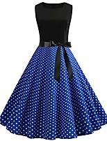 cheap -elegant petticoat party dress women vintage 1950s retro sleeveless o neck print evening party prom swing dress nice casual dress
