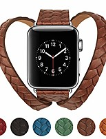 cheap -watch strap 38/40 / 42 / 44mm crown double circle genuine leather embossing weave texture watch band replacement band compatible with apple watch iwatch series 4 3 2 1 (brown, 38mm)
