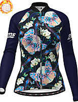 cheap -21Grams Women's Long Sleeve Cycling Jersey Winter Fleece Polyester Dark Navy Butterfly Christmas Bike Jersey Top Mountain Bike MTB Road Bike Cycling Fleece Lining Warm Quick Dry Sports Clothing