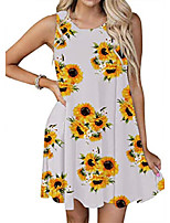 cheap -women's casual dress sunflower sleeveless loose swing tshirt tank dresses with pockets white xl