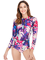 cheap -Women's Rash Guard Dive Skin Suit Swimwear Breathable Quick Dry Long Sleeve Front Zip - Swimming Surfing Water Sports Painting Summer / Stretchy