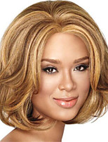 cheap -Synthetic Wig Straight Curly Asymmetrical Wig Medium Length Blonde Synthetic Hair Women's Soft Fluffy Blonde