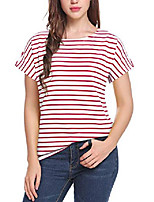 cheap -women's short sleeve striped t-shirt tee shirt tops casual loose fit blouses(small,t1-red white)