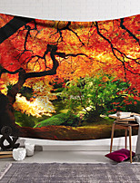 cheap -Wall Tapestry Art Deco Blanket Curtain Hanging Home Bedroom Living Room Dormitory Decoration Polyester Fiber Orange Red Maple Tree Forest