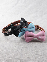 cheap -Dog Collar Adjustable Retractable Durable Outdoor Walking Classic Bowknot PU Leather Small Dog Medium Dog Black Blue Pink 1pc