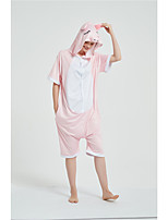 cheap -Adults' Kigurumi Pajamas Piggy / Pig Onesie Pajamas Pure Cotton Pink Cosplay For Men and Women Animal Sleepwear Cartoon Festival / Holiday Costumes