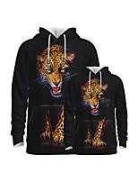 cheap -Family Look Active Graphic Optical Illusion Animal Print Long Sleeve Regular Hoodie & Sweatshirt Black
