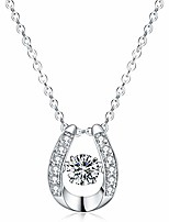 cheap -925 sterling silver pendant necklace dancing diamond stone cubic zirconia women gift
