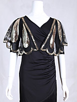 cheap -Sleeveless Capes Poly&Cotton Blend Party / Evening / Office / Career Women's Wrap With Beading / Paillette