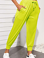 cheap -Women's Basic Casual Comfort Daily Jogger Sweatpants Pants Solid Color Full Length Drawstring Pocket Blue Yellow Green