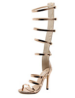 cheap -Women's Sandals Stiletto Heel Peep Toe Sexy Daily PU Solid Colored Gold