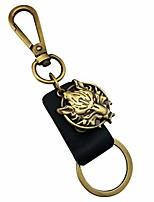 cheap -black leather key clasp keychain antiqed gold tone lion mens boys keyring