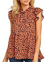 cheap -women's tops casual floral print cap sleeve ruffle neck loose babydoll shirt blouse tunic top orange m