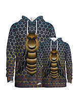 cheap -Family Look Active Graphic Optical Illusion Animal Print Long Sleeve Regular Hoodie & Sweatshirt Dark Gray