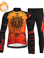 cheap -21Grams Men's Long Sleeve Cycling Jersey with Tights Winter Fleece Polyester Blue Orange Green Animal Bike Clothing Suit Fleece Lining Breathable 3D Pad Warm Quick Dry Sports Graphic Mountain Bike