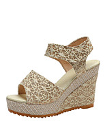 cheap -Women's Sandals Wedge Heel Peep Toe Classic Daily PU Solid Colored Black Beige