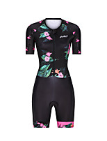 cheap -Men's Women's Short Sleeve Triathlon Tri Suit Polyester Black Floral Botanical Bike Clothing Suit Breathable 3D Pad Quick Dry Reflective Strips Sweat-wicking Sports Graphic Mountain Bike MTB Road