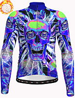 cheap -21Grams Men's Long Sleeve Cycling Jacket Winter Fleece Polyester Blue Skull Bike Jacket Top Mountain Bike MTB Road Bike Cycling Thermal Warm Fleece Lining Breathable Sports Clothing Apparel