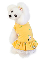 cheap -Dog Dress Animal Cute Adorable Casual / Daily Dog Clothes Puppy Clothes Dog Outfits Breathable Yellow Pink Green Costume for Girl and Boy Dog Cotton S M L XL XXL