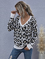 cheap -Women's Stylish Knitted Leopard Pullover Long Sleeve Sweater Cardigans V Neck Fall Winter Black