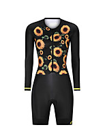 cheap -Men's Women's Long Sleeve Triathlon Tri Suit Polyester Black Floral Botanical Bike Clothing Suit Breathable 3D Pad Quick Dry Reflective Strips Sweat-wicking Sports Graphic Road Bike Cycling Clothing