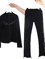 cheap -Figure Skating Jacket with Pants Women's Girls' Ice Skating Pants / Trousers Top Black Patchwork Spandex High Elasticity Training Competition Skating Wear Crystal / Rhinestone Long Sleeve Ice Skating