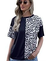 cheap -Women's T shirt Leopard Round Neck Tops Basic Basic Top Black Navy Blue Gray