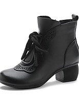 cheap -Women's Boots Chunky Heel Round Toe Booties Ankle Boots Vintage Daily Leather Solid Colored Black Brown / Booties / Ankle Boots