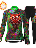 cheap -21Grams Women's Long Sleeve Cycling Jersey with Tights Winter Fleece Polyester Green Animal Bike Clothing Suit Fleece Lining Breathable 3D Pad Warm Quick Dry Sports Graphic Mountain Bike MTB Road