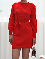 cheap -Women's Sweater Jumper Dress Short Mini Dress - Long Sleeve Solid Color Lace up Patchwork Fall Winter Casual 2020 Red Blushing Pink M L XL