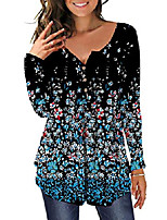 cheap -women's floral tunic tops long sleeve henley v neck buttons up casual blouse shirt (black+small floral, medium)