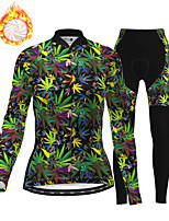 cheap -21Grams Women's Long Sleeve Cycling Jersey with Tights Winter Fleece Polyester Green Bike Clothing Suit Thermal Warm Fleece Lining Breathable 3D Pad Warm Sports Plants Mountain Bike MTB Road Bike