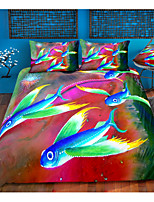 cheap -3D Colorful Fish 3-Piece Duvet Cover Set Hotel Bedding Sets Comforter Cover with Soft Lightweight Microfiber For Holiday Decoration(Include 1 Duvet Cover and 1or 2 Pillowcases)