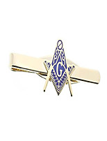 cheap -masonic blue lodge cut out shaped compass and square tie clip / tie bar - gold color with classic freemasons symbol (masonic symbol)