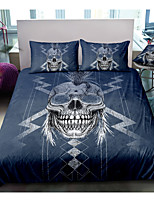 cheap -Skull Series Blue 3-Piece Duvet Cover Set Hotel Bedding Sets Comforter Cover with Soft Lightweight Microfiber For Room Decoration(Include 1 Duvet Cover and 1or 2 Pillowcases)
