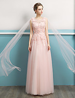 cheap -A-Line Elegant Empire Wedding Guest Engagement Dress Jewel Neck Sleeveless Floor Length Tulle with Lace Insert 2020
