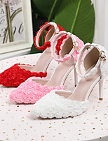 cheap -Women's Wedding Shoes Stiletto Heel Pointed Toe Sexy Classic Minimalism Wedding Party & Evening PU Satin Flower Lace Flower Solid Colored Floral White Red Pink