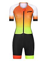cheap -Men's Women's Short Sleeve Triathlon Tri Suit Polyester Black / Yellow Polka Dot Gradient Bike Clothing Suit Breathable 3D Pad Quick Dry Reflective Strips Sweat-wicking Sports Polka Dot Mountain Bike