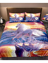 cheap -3D Horse Print 3-Piece Duvet Cover Set Hotel Bedding Sets Comforter Cover with Soft Lightweight Microfiber For Holiday Decoration(Include 1 Duvet Cover and 1or 2 Pillowcases)
