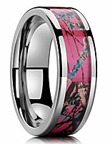 cheap -6mm silver titanium ring inlaid with pink camo sticker 6