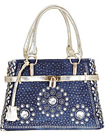 cheap -Women's Bags Oxford Cloth Denim Top Handle Bag Buttons Pattern / Print Print Embellished&Embroidered 2021 Daily Going out Gold Silver