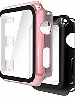 cheap -2 packs screen protector cover case compatible with apple watch series 3/2 42mm, 1 pc case pet film + 1 soft tpu case all-around overall protective cover, black+rose rold